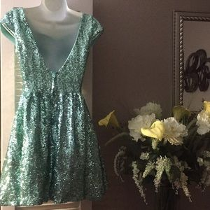 B Darlin Dresses - Teal Green Sequined Glam Dress